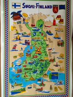 Map of Suomi, Finland..