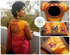 Gorgeous Preethika slays it in style. Beautiful sunshine yellow color designer blouse with peacock and elephant design hand embroidery thread work from Vanitha Couture.