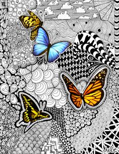 made another zentangle drawing! This time I found some butterflies ...