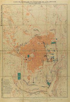 Jerusalem. Kümmel, August Karte der Meterialien zur Topographie des Alten Jerusalem Leipzig, 1904.