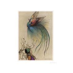 The Girl the Tree and the Bird of Paradise Giclee Print Wall Art (150 RON) ❤ liked on Polyvore featuring home, home decor, wall art, animals, bird species-warwick goble, birds, subjects, wild animals, bird home decor and tree home decor