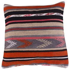 Our authentic Kilim cushions are handwoven and dyed with natural dyes. They are all unique and often have geometric patterns. A Kilim is an original carpet from the Middle-East that was used for having visitors or for praying. Kilim Cushions, Throw Pillows, Scandi Art, Vintage Market, At Home Store, Surface Pattern Design, The Ordinary, Hand Weaving, Carpet