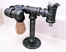 Safety razor stand and brush holder - shaving brush stand - shaving stand - iron pipe, industrial, minimalist, rustic, steampunk, urban.