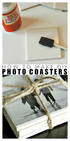 How to make DIY photo coasters - how to make simple DIY coasters, perfect . - How to make DIY photo coasters – how to make simple DIY coasters, perfect to give away! Kids Crafts, Diy Crafts For Adults, Adult Crafts, Kids Diy, How To Make Photo, How To Make Diy, Diy Things To Make, Easy Crafts To Make, Simple Crafts