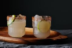 The Mid-Winter Margarita with lime and grapefruit juice + chile-salt on the rim