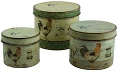 Vintage French Country Style Shabby Chic Set Of 3 Cockerel Storage Tins