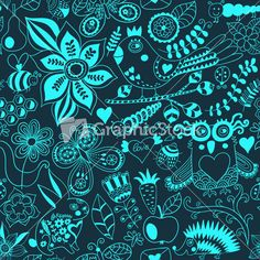 Download Vector Forest Seamless Pattern. Floral Background.owl Stock Image and other stock images, photos, icons, vectors, backgrounds, textures and more.