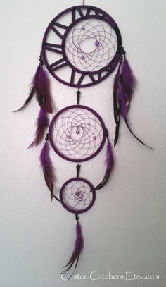 Elaborate 3 Ring Dreamcatcher with Crescent Moon - Customize - Choose Your Colors - Moon Phase - Native - Unique Design