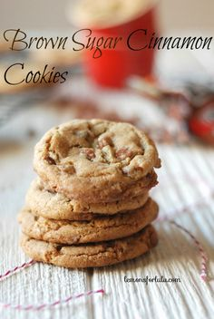 Soft and chewy brown sugar cookies with cinnamon chips! I will leave out the cinnamon and add pecans instead of cinnamon chips. Bake Sale Cookies, Yummy Cookies, Chip Cookies, Yummy Treats, Sweet Treats, Yummy Food, Cookies Soft, Baby Cookies, Heart Cookies