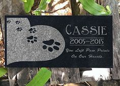 Heart Paws You Left Paw Prints on Our Hearts Pet Grave Markers Memorial Stones Personalized Headstone Absolute Black Granite Garden Plaque Engraved with Dog Cat Name Dates >>> For more information, visit image link.