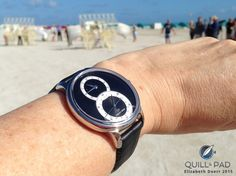 The Jaquet Droz Grande Séconde Quantième on the wrist at Miami Beach during Art Basel Miami with Theo Jansen's Strandbeests just visible in the background Art Basel Miami, Pad, Quill, Miami Beach, Stainless Steel Case, Rings For Men, Dress Watches, This Or That Questions, Shots