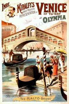 Venice The Rialto Bridge vintage tourism poster.  #Venice #Italy #Rialto #Bridge
