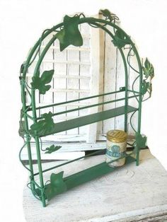 Vintage French Country Iron Wire Herb Spice Rack Cottage Ivy