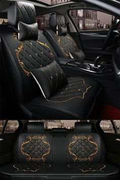 Billionaire Lifestyle Discover Classic Luxury Design With Beautiful Gold Trimmings Universal Car Seat Covers Luxury Pattern with Classic Grid. Black Design With Beautiful Gold Lines Decoration Universal Five Car Seat Cover Custom Car Interior, Car Interior Design, Home Design, Audi Interior, Luxury Cars Interior, Interior Ideas, Mercedes Interior, Truck Interior, Luxury Decor
