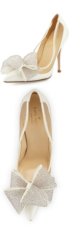 Kate Spade ~ Lovely Satin Bow Ivory Pumps