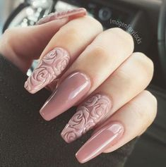 """If you're unfamiliar with nail trends and you hear the words """"coffin nails,"""" what comes to mind? It's not nails with coffins drawn on them. Although, that would be a cute look for Halloween. It's long nails with a square tip, and the look has. Rose Nails, Pink Nails, My Nails, White Nails, Ivory Nails, Nail Black, 3d Flower Nails, Rose Nail Art, Fabulous Nails"""