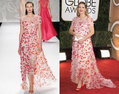 Look de Monique Lhuillier Primavera 2014 / Drew Barrymore en la alfombra roja de los Golden Globes Awards