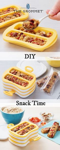 Make your own granola bars with ingredients of your choice. This beautifully-designed granola bar maker presses nuts, fruits, and seeds into compact bars. Make six at a time—leave them in the fridge for an hour or use the heat-resistant silicone inserts as baking molds.
