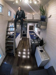 Tumbleweed Tiny House Blog, roof is slanted shed style instead of pitched