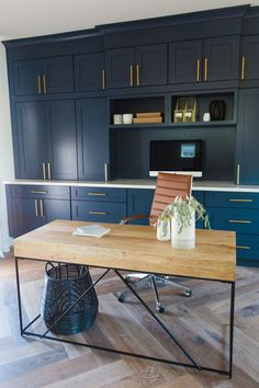 THE LifeStyled CO Carol Way Project office, blue cabinets, navy cabinets, brass pulls,. Blue Home Offices, Home Office Space, Home Office Design, Home Office Decor, Office Furniture, Home Decor, Office Designs, Office Desk, Navy Cabinets