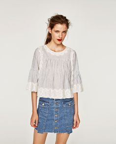 ZARA - WOMAN - STIPED LACE TOP