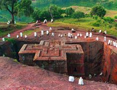 One of the top places to visit in northern Ethiopia: Lalibela, a UNESCO world heritage site where the churches are carved from the earth.