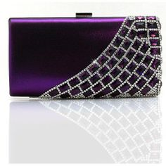 Purple Bejeweled Satin Cocktail Party Ball Evening Clutch Bag Purses SKU-1110761