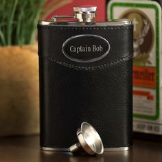 Personalized 8 ounce Black Leather Drinking Flask with Funnel - The Rustic Shop