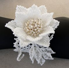 Beaded bracelet with lily and pearls Bridal by Gemsplusleather