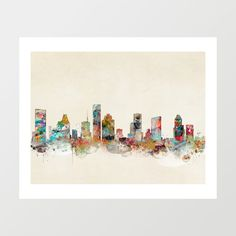 houston texas skyline .colorful modern pop art by oxleystudio