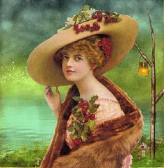 lady wearing holly corsage and holly in her hat Clip Art Vintage, Éphémères Vintage, Images Vintage, Vintage Labels, Vintage Ephemera, Vintage Pictures, Vintage Cards, Vintage Prints, Victorian Art