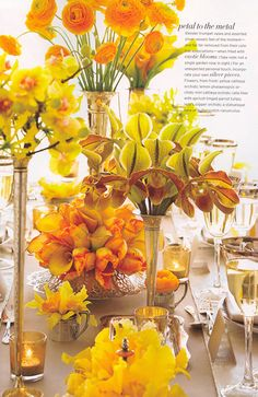 He uses yellow cattleya orchids , lemon phalaenopsis orchids, calla lilies with apricot-tinged parrot tulips; lady's slipper orchids, frilly gloriosa lilies, butterscotch ranunculus, and blush colored tulips to make his boutonneires, bouquets, and table arrangements. Red and orange poppies, hot-pink sweetpeas, jasmine and finged tulips fire up an outdoor summer wedding reception. Vintage silver cups, a variety of silver pieces, shiny ribbon, copper mugs, compotes, and kettles contain…