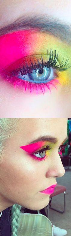 makeup make-up neon eyes eye eyeshadow mascara colour bright diy beauty tips
