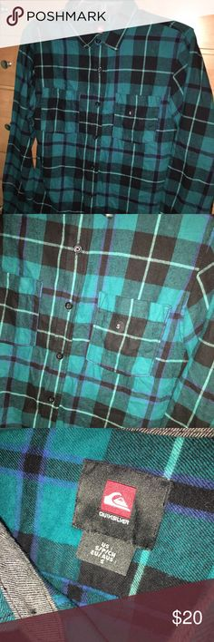 Quiksilver plaid Flannel Size S New without tags Quicksilver Flannel men's size small (s). Blue/black/green (turquoise). New without tags, but still has size sticker attached. Quiksilver Shirts Casual Button Down Shirts