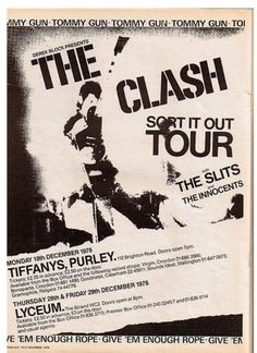 The Clash tour poster, 1978 - supported by The Slits. Rock And Roll, Pop Rock, Joe Strummer, New Wave, Football Music, Concert Rock, Paul Simonon, Weekend Film, British Punk
