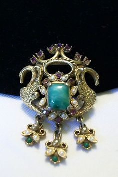 BAROQUE STYLE DOUBLE SWAN VINTAGE RHINESTONE FIGURAL BROOCH PIN BY FLORENZA  for sale on Ebay at the Glitter Bug Store follow the link below
