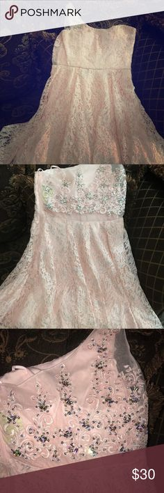Beautiful light pink dress The dress is bran new my daughter never wore it it's a beautiful dress! Sequin Hearts Dresses One Shoulder