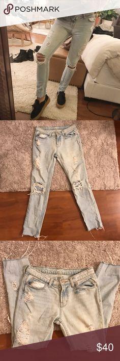 BDG Slim Boyfriend Distressed Jeans Super cute pair of light washed, distressed slim boyfriend jeans! From Urban Outfitters. Size 0, 24. BDG Jeans Boyfriend