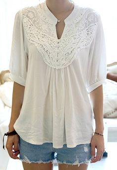 $9.50 Lace Splicing Crochet Flower 1/2 Sleeve Casual Blouse For Women