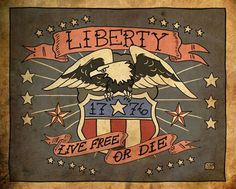 1776 Liberty Eagle Live Free Or Die Giclée Print Americana Tattoo, Spartan Tattoo, Live Free Or Die, I Tattoo, Norse Tattoo, Armor Tattoo, Viking Tattoos, Military Tattoos, Tattoo Designs