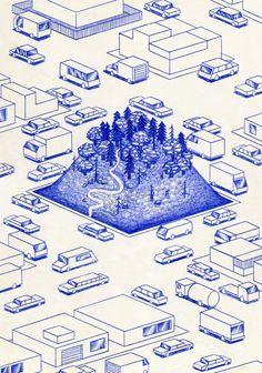 ILLUSTRAZIONE: La penna blu di Kevin Lucbert   Mondi inaspettati - Osso Magazine