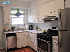 white cabinets, redo on the countertops, stainless steel appliances, wood floor