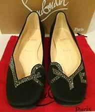 Christian Louboutin NIB Black Satin 'Love' Ballet Flat Size 39 Brand New!!