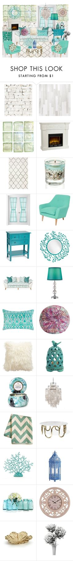 """""""turquoise decor"""" by vanilaicecream ❤ liked on Polyvore featuring interior, interiors, interior design, home, home decor, interior decorating, Milton & King, Southern Enterprises, Mix & Match and Satara"""