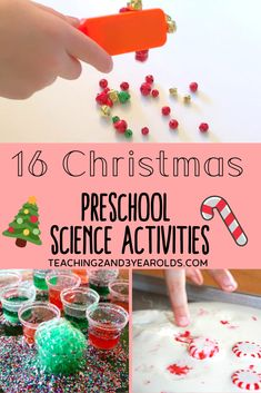 Looking for Christmas science activities that engage preschoolers? Here are 16 fun ideas to try during the month of December! #Christmas #science #holidays #activities #preschool #experiments #age3 #age4 #teaching2and3yearolds Christmas Activities For Toddlers, Preschool Science Activities, Preschool Themes, Preschool Activities, Science Experiments For Preschoolers, Science Worksheets, Preschool Learning, Teaching Science, Winter Activities