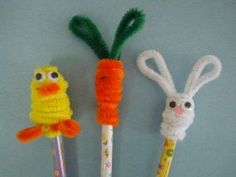 Easter pencil toppers with pipe cleaners