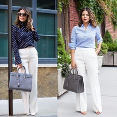 """Olivia no Instagram: """"Spring is getting closer! Change out your black trousers for an off-white trouser and printed top. 