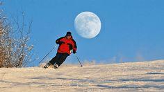 Skiing under a full wolf moon in North Dakota