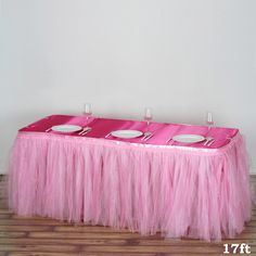 17 FT Pink Two Layered Pleated Tulle Tutu Wedding Party Banquet Table Skirt With Satin Edge