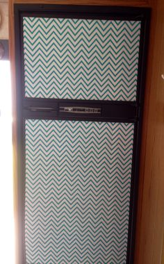 Refrigerator doors: added turquoise and white chevron contact paper